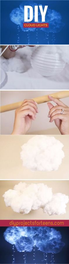 DIY Projects for Teenagers - DIY Cloud Light - Cool Teen Crafts Ideas for Bedroom Decor, Gifts, Clothes and Fun Room Organization. Summer and Awesome School Stuff http://diyjoy.com/cool-diy-projects-f (Cool Crafts For Teenagers)