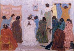 "Pedro Figari (Montevideo, 1861 - Montevideo, 1938) "" Preprando la fiesta"" ?, Huile sur carton, H. 35 cm ; L. 50 cm © pedrofigari.com"