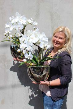 artificial orchids - hand made deco flowers tenDOM. Orchid Flower Arrangements, Orchid Planters, Orchid Pot, Orchids Garden, Orchid Terrarium, Luxury Flowers, Love Flowers, Beautiful Flowers, Table Flowers