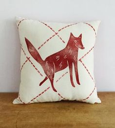 Small Stamped Fox Pillow