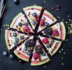 Watermelon pizza with cashew-honey cream and fresh berries. A perfect and…