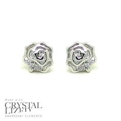 SPARKLE ROSES Swarovski Elements Crystal 18-KRGP White Gold Plated Stud Earrings - http://elegant.designerjewelrygalleria.com/swarovski/sparkle-roses-swarovski-elements-crystal-18-krgp-white-gold-plated-stud-earrings/