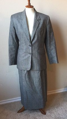 Prophecy Women's Size 10 12 Grey Wool 2pc Skirt Suit #Prophecy #SkirtSuit