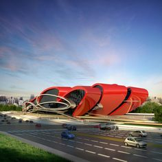 """Oasis Exhibition Center"": Sleek, bright red surfaces and aerodynamic forms metaphorically relate to a sports car, appropriate for this car showroom in Chengdu, China. This is the first, but expect more showrooms to follow: the London based architect recently won an international competition to create a full series of the showplaces. 