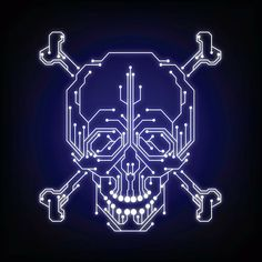 Skull and crossbones in digital style represents the cyber crime . Halo Tattoo, What Is Bug, Tattoo Brazo, Cyberpunk Kunst, Circuit Tattoo, Music Tattoo Designs, Logo Shapes, Celtic Tattoos, Skull And Crossbones