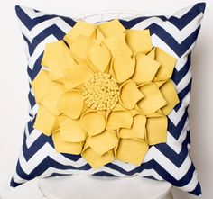 "16x16"" Navy Chevron Throw Pillow with Large Mellow Yellow Wool Felt Dahlia Flower. $45.00, via Etsy."