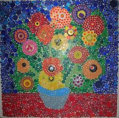 bottle cap mural - why people throw anything away is beyond me when you could make stuff like this! Group Art Projects, Collaborative Art Projects, Plastic Bottle Caps, Plastic Art, Bottle Cap Projects, Bottle Cap Crafts, Bottle Top Art, Atelier D Art, Art Lesson Plans