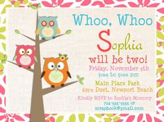 Owl Birthday Party Invitations   Digital File by ScrapbookStyle, $14.00