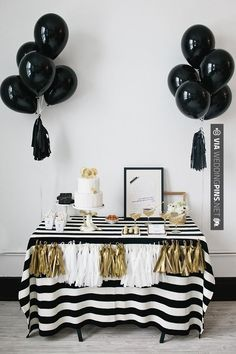 So cool - black, white, and gold dessert table | CHECK OUT MORE GREAT BLACK AND WHITE WEDDING IDEAS AT WEDDINGPINS.NET | #weddings #wedding #blackandwhitewedding #blackandwhiteweddingphotos #events #forweddings #iloveweddings #blackandwhite #romance #vintage #blackwedding #planners #whitewedding #ceremonyphotos #weddingphotos #weddingpictures