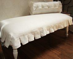 Chesterfield Sofa Slipcover In White Sunbrella Fabric