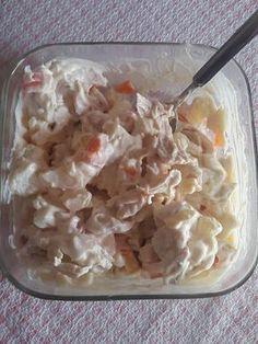 Κοτοσαλάτα Υλικά •2 μέτρια σε μέγεθος στήθη κοτόπουλου •2 αυγά •2 πατάτες •2 καρότα •½ κιλό τυρί γκούντα •1 βαζάκι (μεγάλο) μαγιονέζα •1 κουτ.σούπας μουστάρδα •1 κουτ.γλυκού κετσαπ •πιπέρι (προεραιτικά) Εκτέλεση Βράζουμε το κοτόπουλο,τα αυγά,τις πατάτες και τα καρότα. Κόβουμε σε μικρά κυβάκια ολα τα υλικά μας.Τα κόβουμε