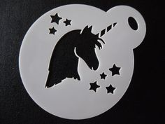 Unique bespoke new laser cut unicorn head stars cookie / face painting stencil