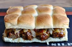 Dozen Smokey Mesquite BBQ Meatball Sliders. These are amazing!  Be prepared to double this recipe, because people will go back for a third, maybe even a fourth time. Slider Sandwiches, Bbq Meatballs, Kraft Foods, Dinner Recipes, Appetizer Recipes, Sandwich Recipes, Beef Recipes, Beef Meals, Yummy Recipes