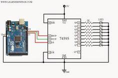 Funny Electronics: Circuit and Program to Control 74HC595 / 74HCT595 using Arduino Mega
