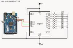 Funny Electronics: Circuit and Program to Control 74HC595 / 74HCT595 using Arduino Mega