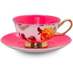 roses-and-teacups.com - Pink Satin Shelley Teacup & Saucer ($28) ❤ liked on Polyvore featuring home, kitchen & dining, drinkware, kitchen, filler, pink teacup, rose tea cup, tea cups and saucers, tea cup and pink tea cup
