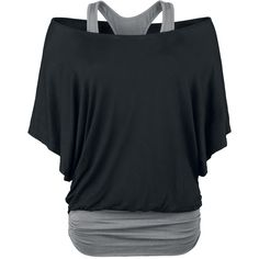 Bat shirt in double layer-look with wide neckline and gathered side seam. The contrast-coloured racerback top is attached to the shirt. Cute Fashion, Fashion Outfits, Womens Fashion, Rock Fashion, Racerback Top, Bat Shirt, Grey Shirt, Sport Outfit, Mode Chic