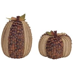 Set of 2 Burlap and Pine Cone Pumpkin Table Top Decorations 10 Fall Harvest Decorations, Pine Cone Decorations, Halloween Decorations, Pine Cone Art, Pine Cone Crafts, Pine Cones, Burlap Pumpkins, Small Pumpkins, Acorn Crafts