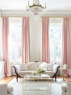 Blush pink drapes in city living room