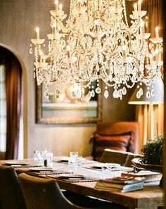 Chandelier over the dining table