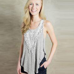 New Fashion Women T-Shirt Crochet Lace Side Splits Round Neck Sleeveless Casual Tank Top Grey