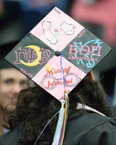 Illinois and Wisconsin commencement cap / mischief managed Harry Potter commencement cap / Greek letters commencement cap