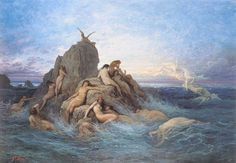 Gustave Dore Oceanides (naiads of The Sea) print for sale. Shop for Gustave Dore Oceanides (naiads of The Sea) painting and frame at discount price, ships in 24 hours. Gustave Dore, Roman Mythology, Greek Mythology, Classical Mythology, All Inclusive Urlaub, Saint Dominique, Water Nymphs, Les Religions, Mermaids And Mermen