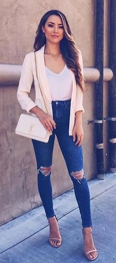 #summer #outfits  Blush Cardigan + White Top + Destroyed Skinny Jeans