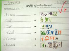 Word Work:  sight words -spelling in the news