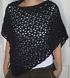 Quick and easy crocheted poncho, with a bit of a boho vibe to it. Instructions given for both adult and child sizes in the pattern.