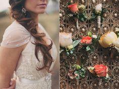 peach boutonnieres - photo by Alixann Loosle http://ruffledblog.com/blush-and-gold-utah-wedding