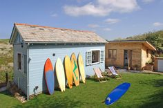 Beach cottage rental in Holywell Bay, North of the Cornwall coast // Living area is in one cottage, and the bedroom/bathroom are in the separate building. Beach Cottage Rentals, Beach Cottage Style, Beach Cottage Decor, Cottage Ideas, Small Beach Houses, Beach Houses For Rent, Surf Shack, Beach Shack, Beach Huts