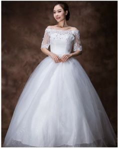 2014 spring new item long sleeve off shoulder ball gowns wedding dress lace top tight waist free shipping $200.80