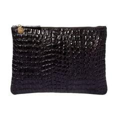 Clare Vivier Supreme Flat Clutch (€180) ❤ liked on Polyvore featuring bags, handbags, clutches, dark grey, croc leather handbags, crocodile handbag, genuine leather handbags, crocodile purse and crocodile leather handbags