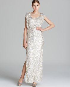 Boutique Gown - Short Sleeve Scoop Neck Sequin Blouson   Bloomingdale's