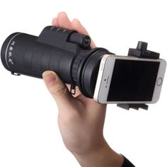 10*40+Hiking+Concert+Optical+Camera+Lens+Monocular+Cellphone+Telescope+with+Smartphone+Holder+Black