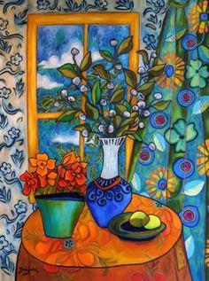 "Saatchi Art Artist Elisa R Boughner; Painting, ""Where Peacocks Go for Tea"" #art"