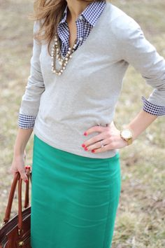 Fall work outfit with blue gingham shirt, grey sweater and turquoise skirt
