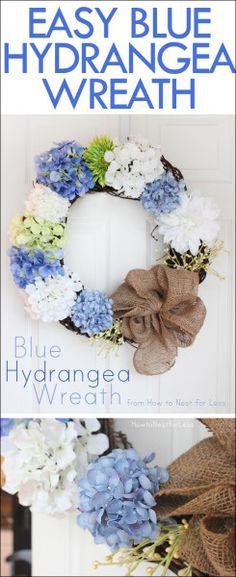 Blue Hydrangea Door Wreath. So easy to make!