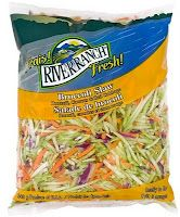 Asian Broccoli Slaw Salad  2 bags broccoli coleslaw  1/4 c. slivered almonds  2 bags oriental flavor ramen noodles, crushed  1 bunch green onion, sliced thinly  1/2 stick butter or margarineDressing:  1/4 c. sugar  2 pkgs oriental ramen flavoring (in the ramen bag)  1/2 c. canola oil  1/4 c. cider vinegar  salt and pepper to taste