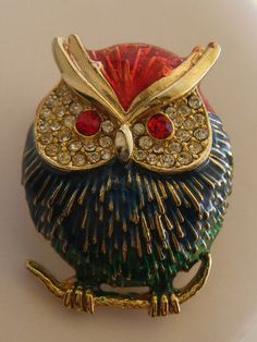 Vintage Owl Rhinestone Enamel Pin