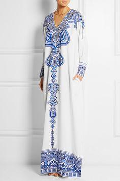 Emilio Pucci|Embroidered silk-cady kaftan|NET-A-PORTER.COM