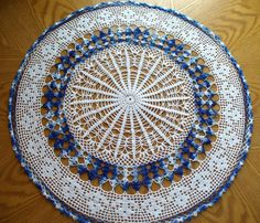 Handmade White and Blue Round Crochet Doily: Jade Vine by jannacadle on Etsy