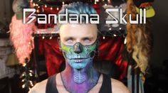 Welcome to DesignsbyDane, this is my Bandana Skull Tutorial! Congratulations on taking a step in the right direction. Your life will now be enriched by my in. Half Skull Face, Skull Makeup Tutorial, Makeup Tutorials Youtube, Bandana, Make Up, Skeletons, Congratulations, Rainbow, Costumes