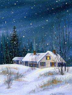 Chery Johnson - Last One Up 10 x 15 inches -- Description: Cozy farmhouse in the snow -- ~~Watercolors: New England Scenes & Seasons~~