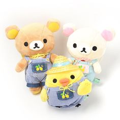 "These atsumete, or ""collect them all,"" plushies feature Rilakkuma, Korilakkuma and Kiiroitori in overalls! All three of them come in matching lemon-themed outfits and are equipped with cute little straw hats! Be sure to check out the other adorable Rilakkuma products too to bring more relaxation to your everyday life.  #plushie"