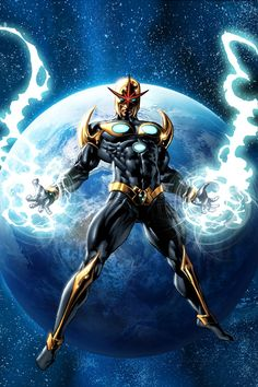 "Nova (Richard Rider alias Quasar) (Human/Empowered) (Hempstead, New York U.S.A.) Prime Commandant of the Nova Corps; former Student, Short-Order Cook, reality TV  Star. Superhuman speed (can run at 900 m.p.h.) strength (can lift 150 tons) stamina, durability, accuracy, agility, reflexes. Regenerative Healing Factor. Flight. Energy Generation. Formidable combatant. Xandarian StarCorps uniform. 6' 1"" tall."