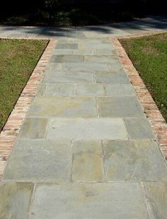 Stone walkway, with reclaimed brick border Concrete Path, Outdoor Walkway, Brick Walkway, Front Walkway, Front Steps, Brick Patios, Backyard Patio, Walkway Ideas, Front Porch