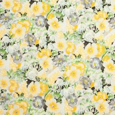 Yellow/Gray Floral Printed Cotton Voile