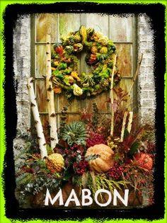 Mabon Decor - I love the harvest infused display!